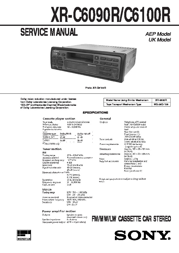 sony xr-c6090r, xr-c6100r service manual