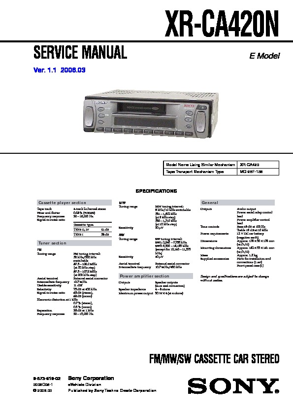 sony xr ca420n service manual free download sony 45wx4 car audio manual Sony Stereo Systems