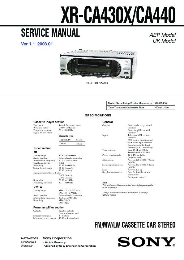 Sony XR-CA430X, XR-CA440, XRS-CA500 Service Manual - FREE DOWNLOAD