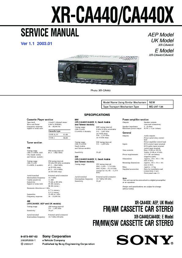 Sony XR-CA440, XR-CA440X, XRS-CA500 Service Manual - FREE DOWNLOAD