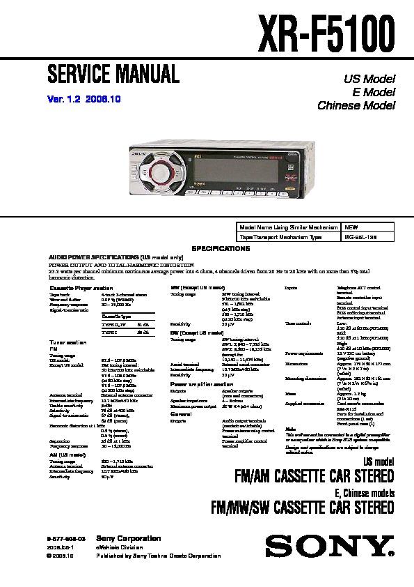 sony xr f5100 service manual free download rh servicemanuals us Sony Xplod Manual 6X9 Sony Xplod Wiring-Diagram
