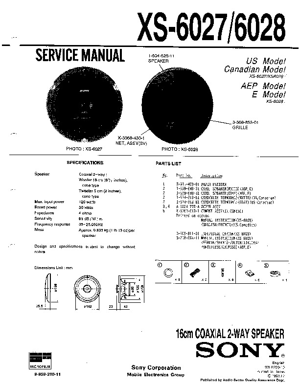 sony xr-3320  xr-4420  xrs-600 service manual