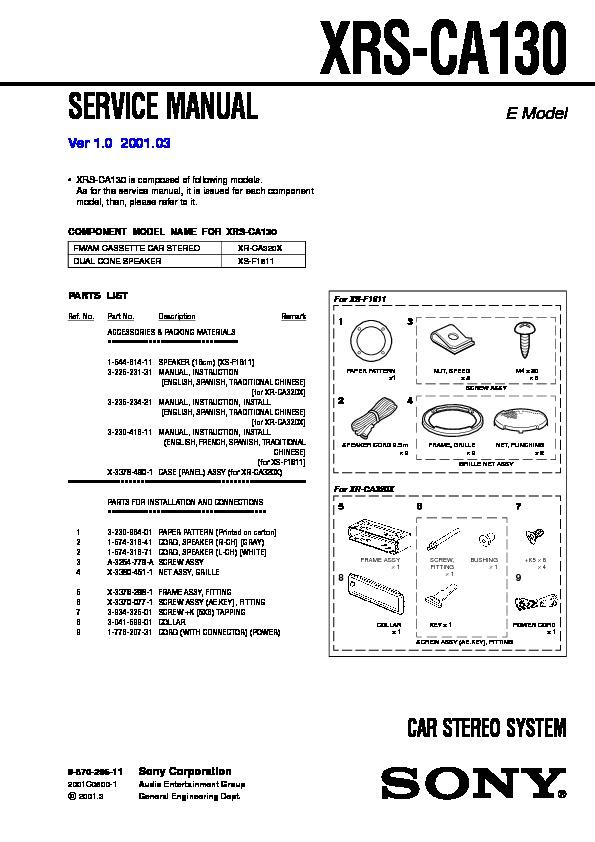 Sony XR-CA300, XR-CA320, XR-CA320X, XRS-CA130 Service Manual ...
