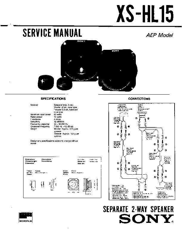 sony xs-hl15 service manual