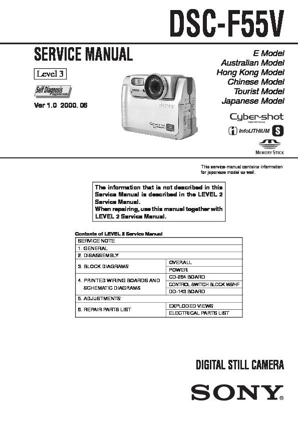 Sony Dsc-f55v Service Manual