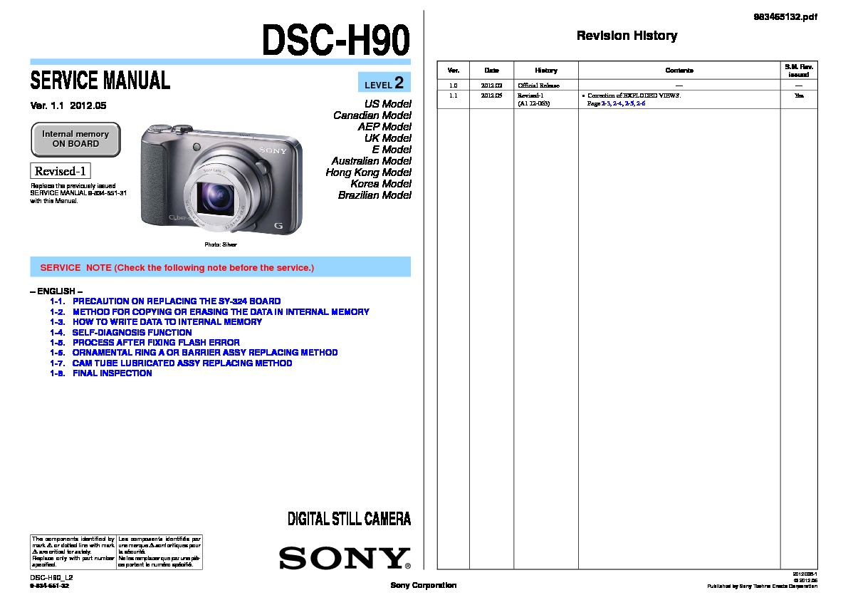 sony dsc-h9 (serv.man2) service manual - free download  servicemanuals.us