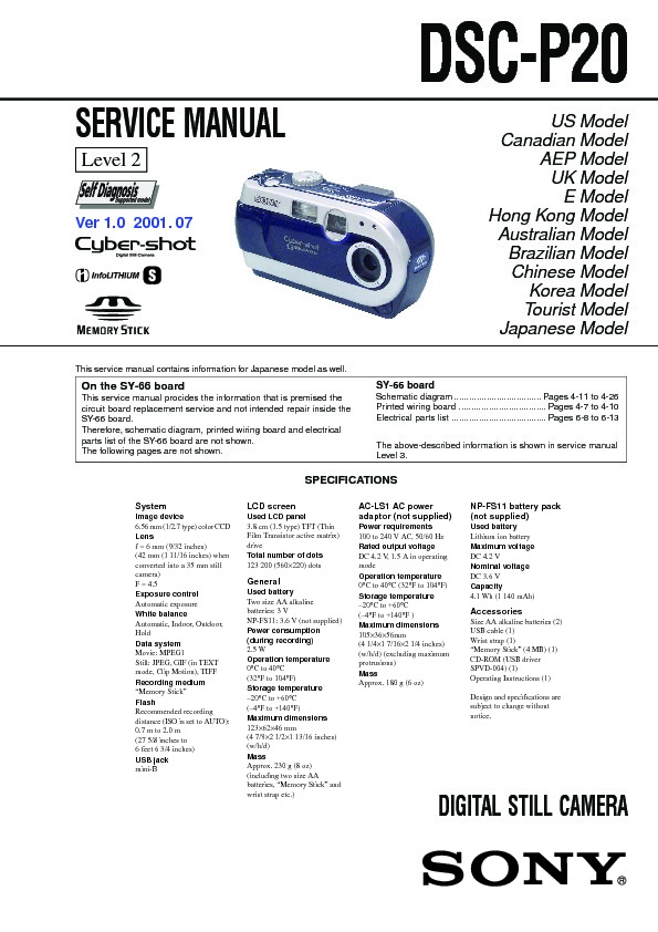 sony dsc p20 serv man2 service manual free download rh servicemanuals us Lycoming IO-540 Overhaul Manual Lycoming IO-360 Overhaul Manual