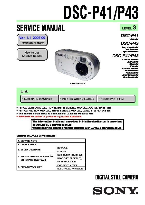 sony dsc p41 dsc p43 service manual free download rh servicemanuals us digital camera service manual pdf Digital Cameras with Manual Settings