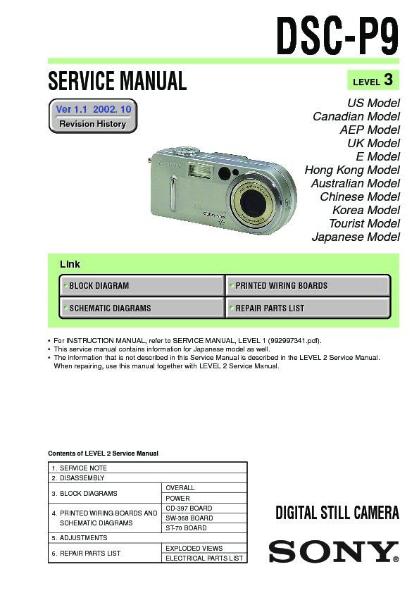 Sony Dsc-p9 Service Manual