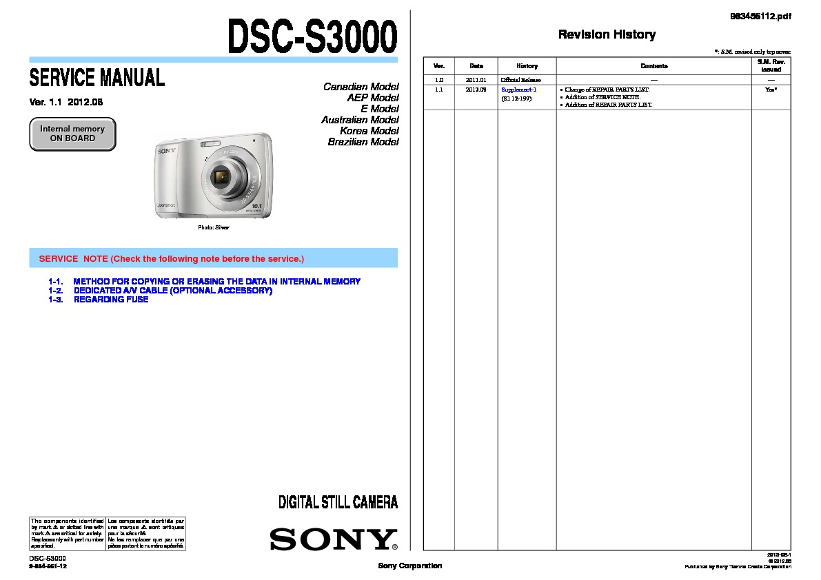 Sony Dsc S30 S50 Service Manual Free Download Com Bus Wiring Diagram S3000