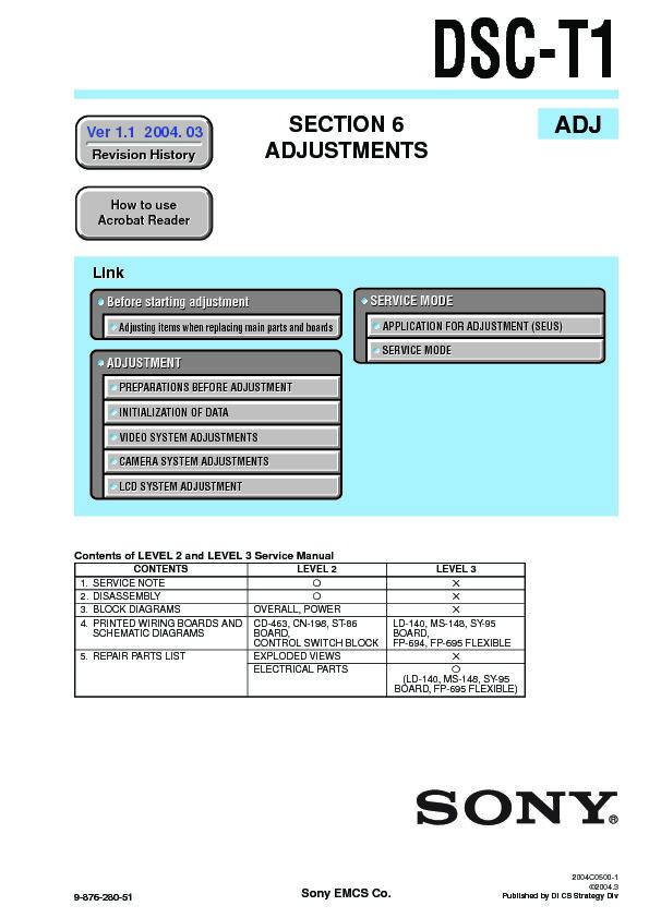 Sony DSC-T1, DSC-T11 Service Manual - FREE DOWNLOAD