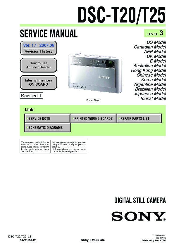 sony dsc t20 dsc t20hdpr dsc t25 service manual free download rh servicemanuals us Sony DSC- H7 Sony DSC- N2