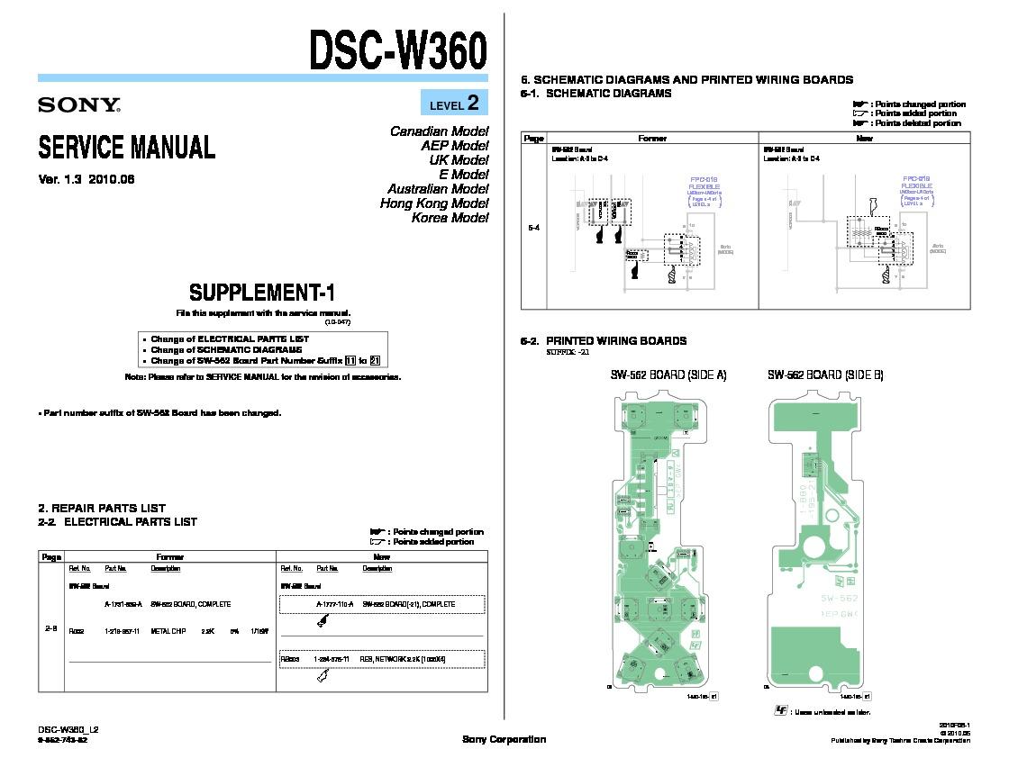 Sony Dsc W360 Servman2 Service Manual Free Download Wiring Diagram