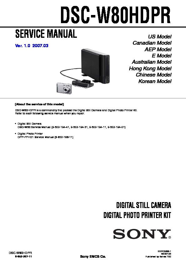 Sony Dsc-w80 Service Manual