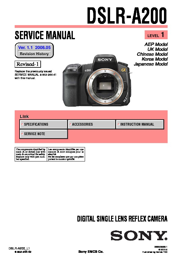 sony dslr a200 dslr a200h serv man2 service manual free download rh servicemanuals us Sony A200 Flash Sony Alpha A200 DSLR