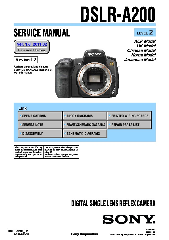 sony dslr a200 dslr a200h service manual free download rh servicemanuals us sony alpha a200 service manual Sony A200 Specs