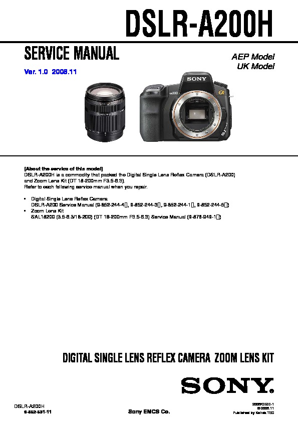 sony dslr a200h service manual free download rh servicemanuals us Sony A200 Flash sony alpha a200 service manual