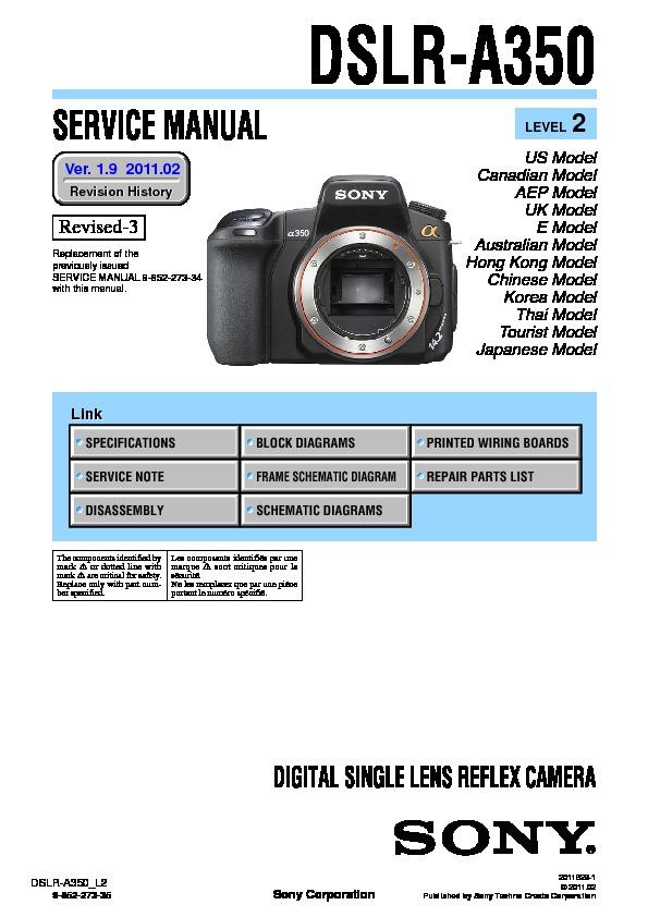 Sony Dslr-a350h Service Manual