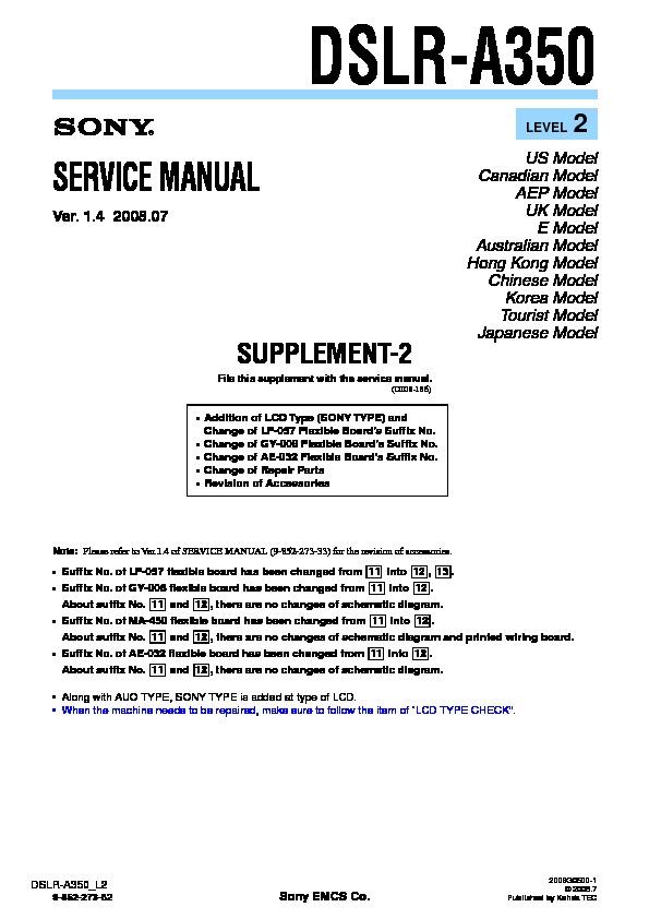 Sony Dslr-a350 Service Manual