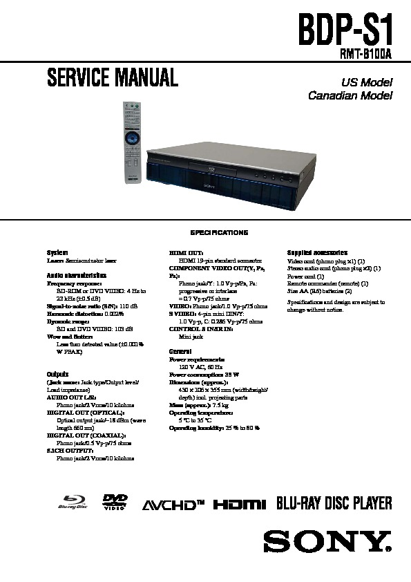 Sony BDP-S380 Blu-ray Player Owners Manual