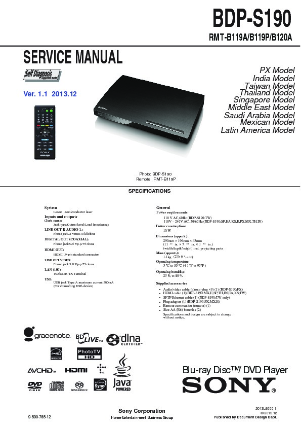 Bdp s190 sony manual download