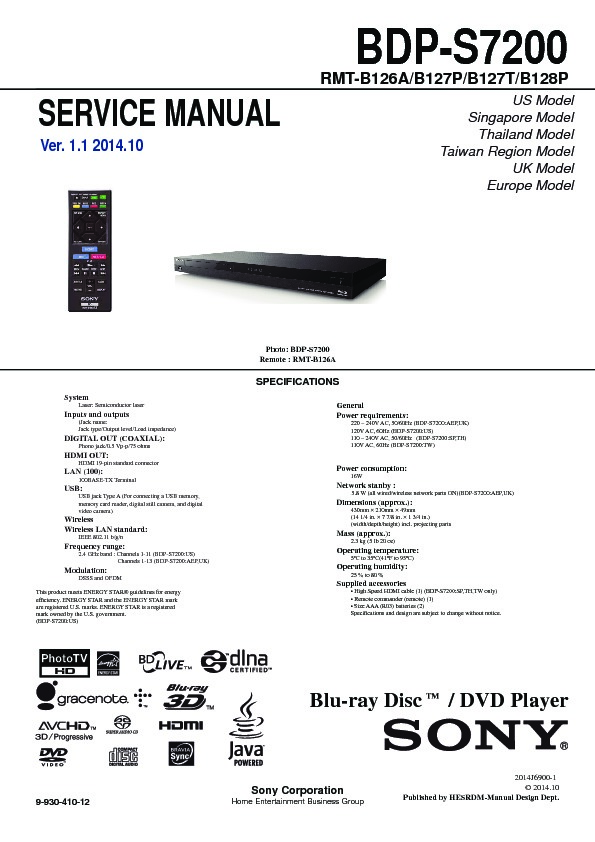 sony bdp s7200 service manual free download rh servicemanuals us Parts Manual Service ManualsOnline