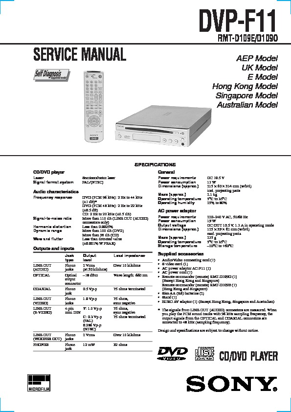 Sony Dvd Service Manuals Page 3