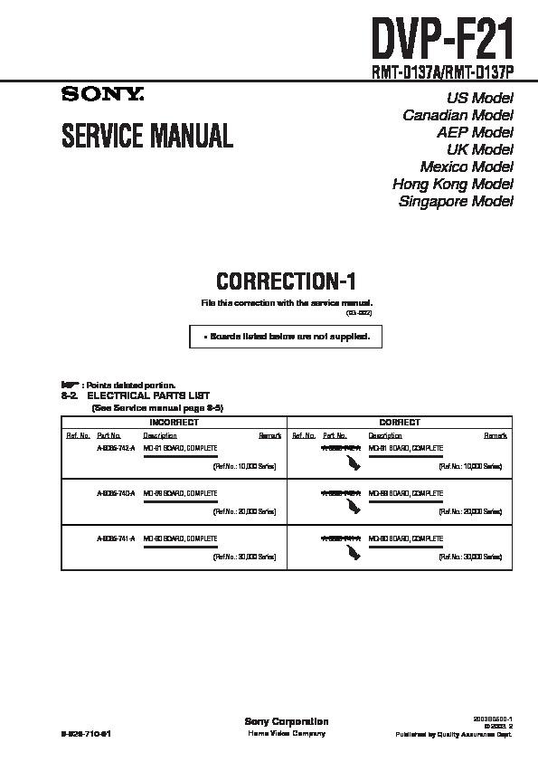sony dvp-f21 service manual