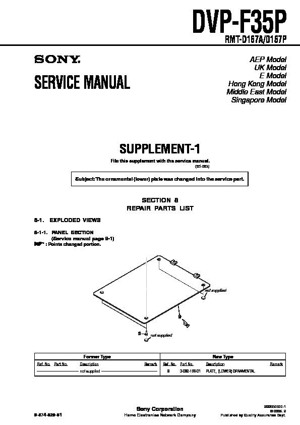 sony dvp-f35p service manual