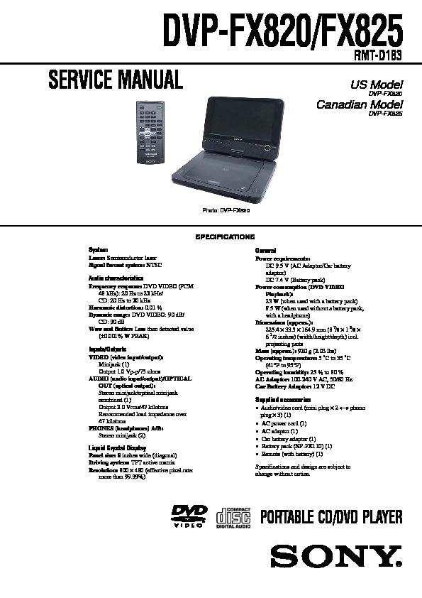 sony dvp fx820 dvp fx825 service manual free download rh servicemanuals us Classic DVD Player Manual DVD Player Cords