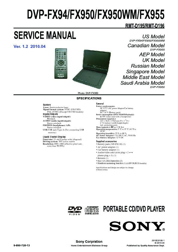 sony dvp fx94 dvp fx950 dvp fx950wm dvp fx955 service manual rh servicemanuals us