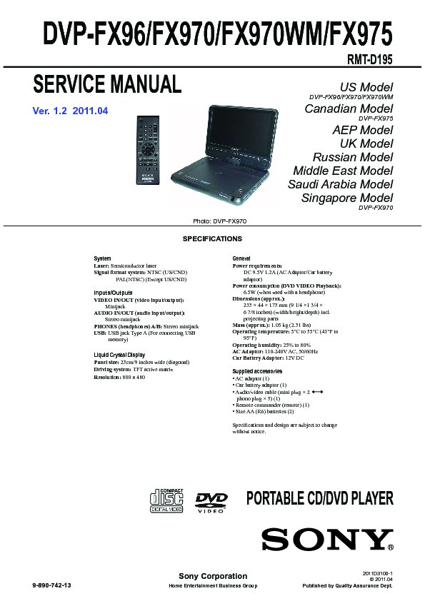 sony dvp fx96 dvp fx970 dvp fx975 service manual free download rh servicemanuals us power acoustik dvd player manual DVD Manuals Games