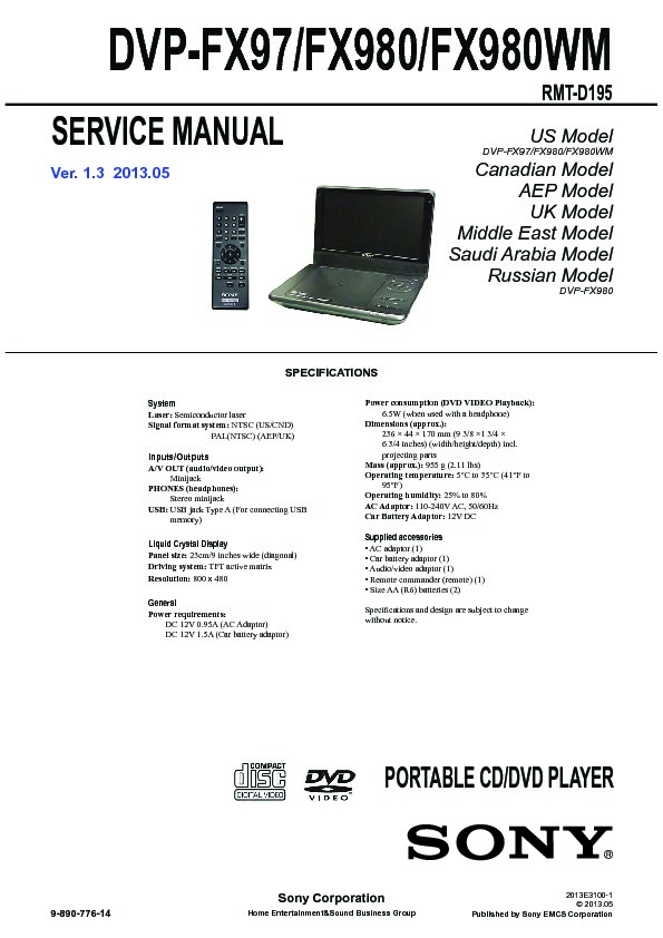 sony dvp fx97 dvp fx980 service manual free download rh servicemanuals us Classic DVD Player Manual OBO DVD Player