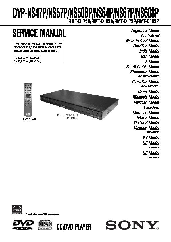 sony dvp ns47p dvp ns508p dvp ns57p dvp ns608p dvp ns64p dvp rh servicemanuals us Remote Control Sony DVP Ns57p Sony DVP Ns57p Manual