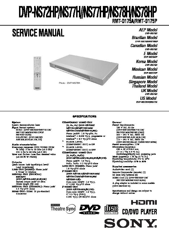sony dvp ns72hp dvp ns77h dvp ns77hp dvp ns78h dvp ns78hp rh servicemanuals us Sony Tape Deck Sony DVD Player