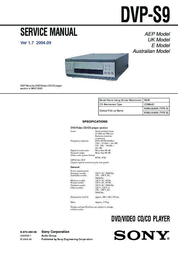 sony dvp s9 mhc s9d service manual free download rh servicemanuals us Sony LBT-SH2000 Sony Mini Hi-Fi Component System