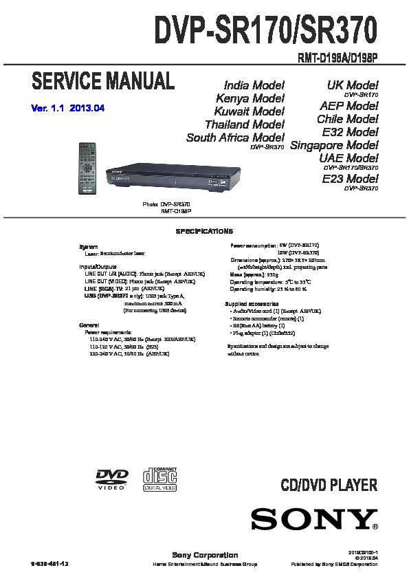 sony dvp sr170 dvp sr370 service manual free download rh servicemanuals us sony dvd manuals free sony dvd manuals online