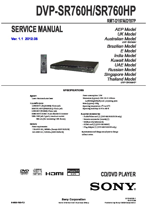 sony dvp sr760h dvp sr760hp service manual free download rh servicemanuals us cd player service manual portable dvd player service manual