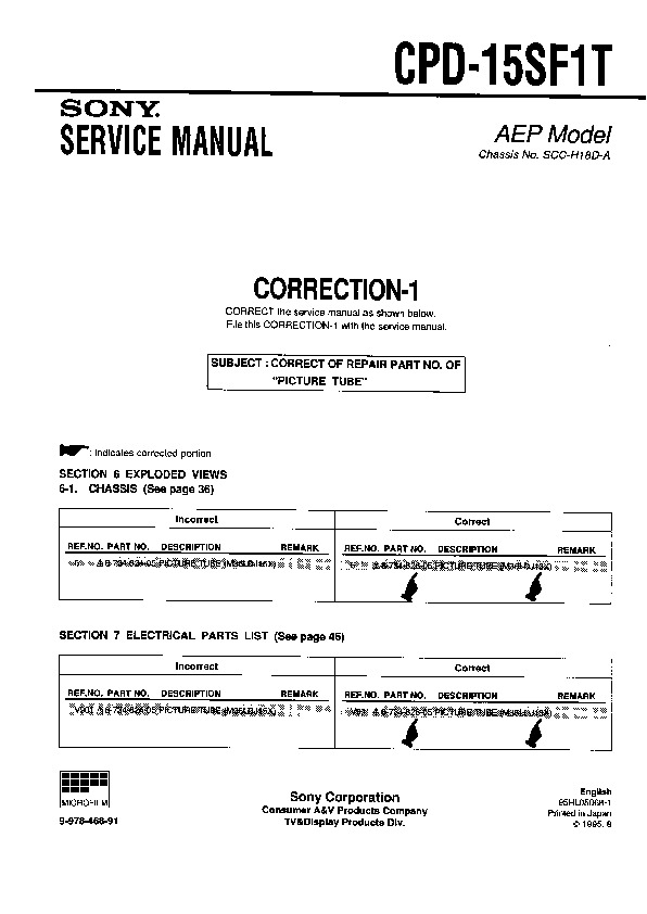 Sony Monitor Service Manuals