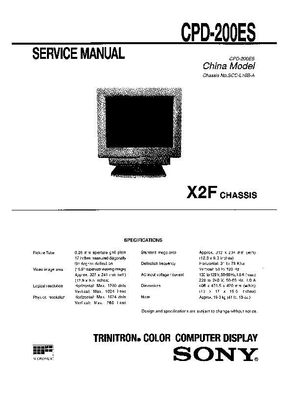 sony cpd 200es serv man2 service manual free download rh servicemanuals us Sony PVM Monitor Sony Broadcast Monitors
