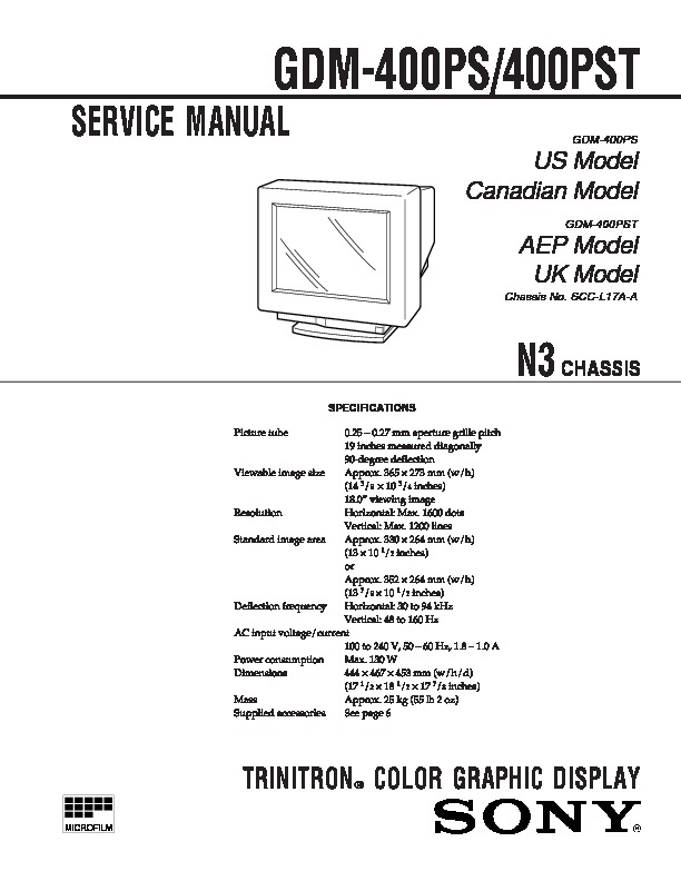 Sony gdm 400ps gdm 400pst gdm 400pst9 service manual free download gdm 400ps gdm 400pst service manual sciox Image collections