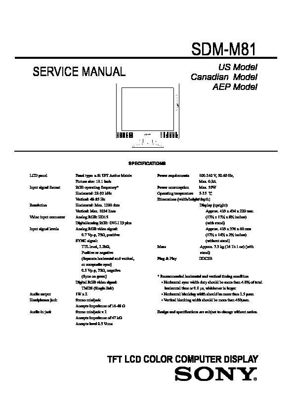 sony sdm m81 service manual free download rh servicemanuals us Sony Monitor Drivers Sony Audio Baby Monitor