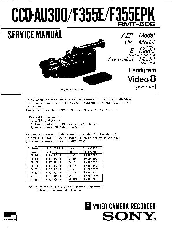 Sony Ccd Au300 Ccd F355e Ccd F355epk Service Manual Free Download
