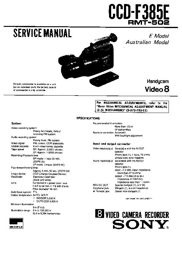 sony ccd-f385e service manual