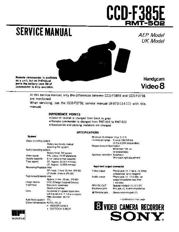 Sony Ccd F385e Service Manual Free Download