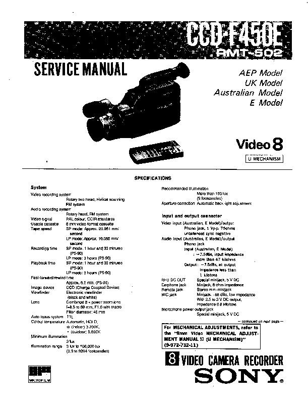 sony ccd-f450e service manual