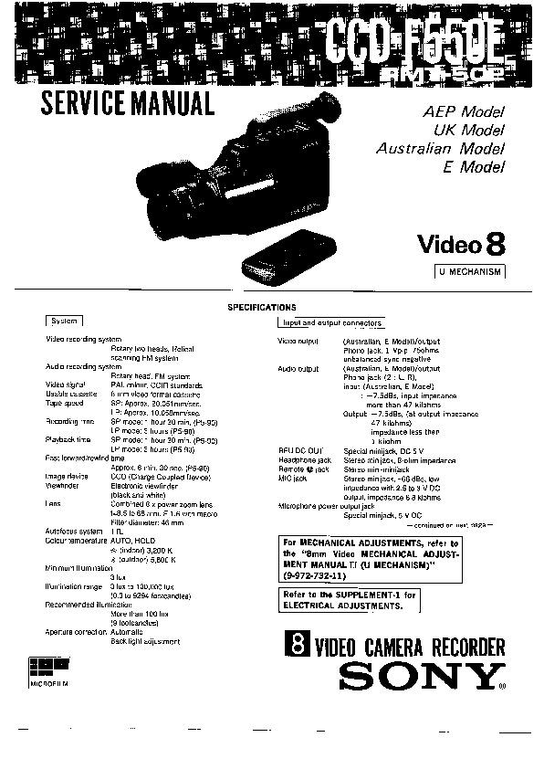 sony ccd-f550e service manual