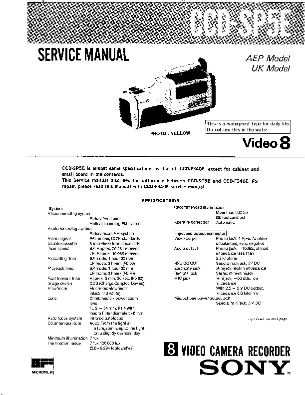 sony ccd-sp5e service manual
