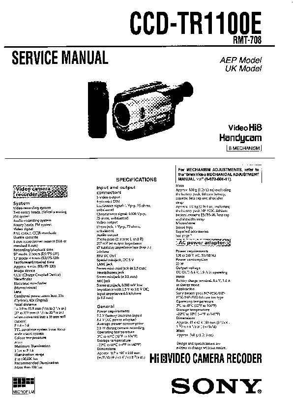 Sony Ccd-tr1100e Service Manual