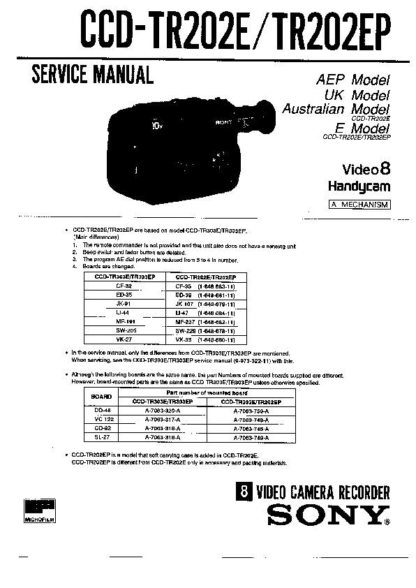 sony ccd-tr202e  ccd-tr202ea  ccd-tr202ep service manual